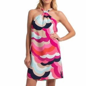 Trina Turk Halter Retro Print Color Block Dress M